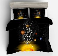 Fashion cartoon black yellow star bedding sets 3D style big twin full queen king size duvet cover sets children boys bedclothes