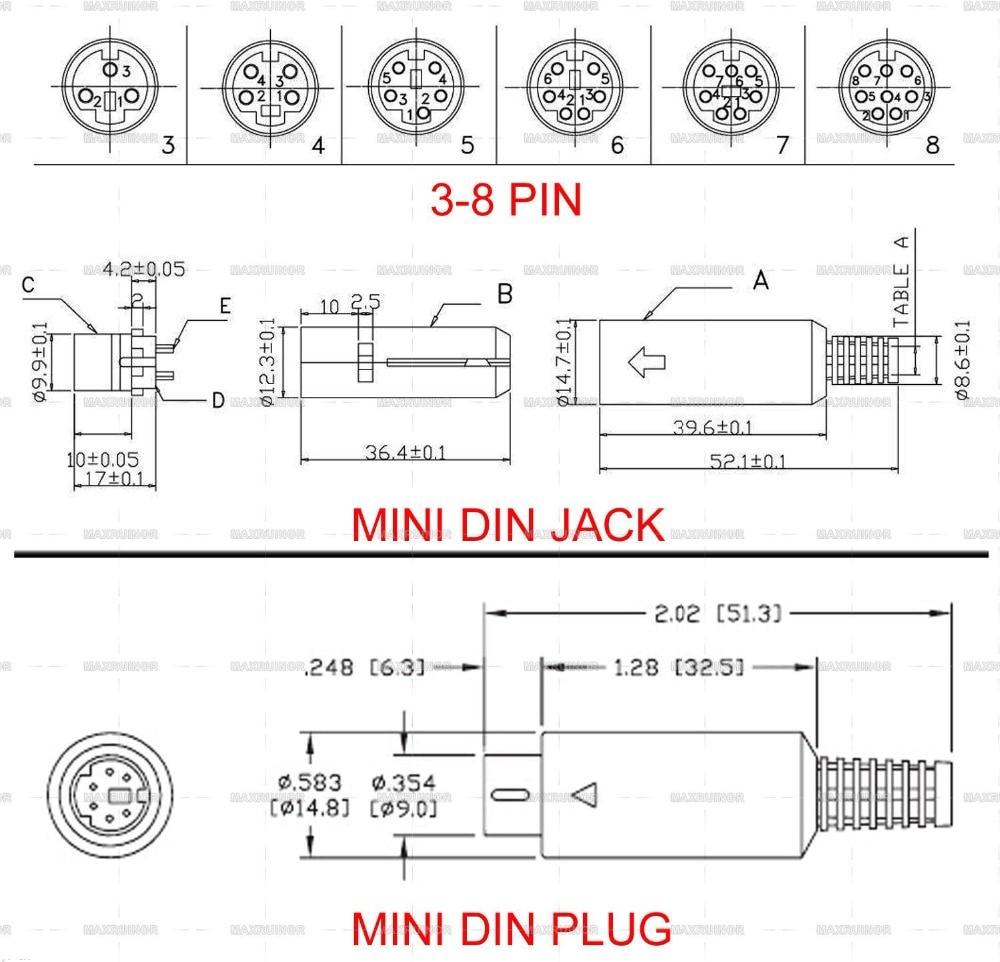 10 x 8-Pin Mini DIN Socket Connector