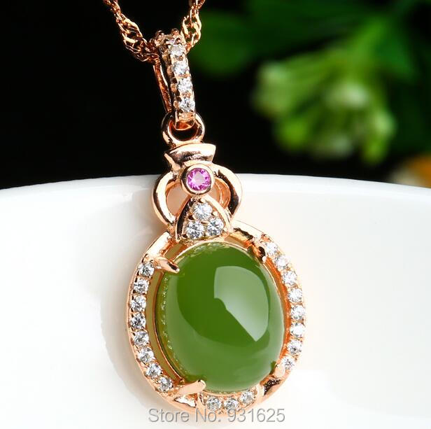 925 silver Gold Natural Green HeTian Jade Gem Stone Inlay Lucky Pendant Necklace + certificate Fashion Fine Jewelry