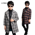 Winter School Boys Outwear Jacket Coat England Style Plaid Long Trench For Boy Thicken Wool Coat Teenage Kids Children Outwear