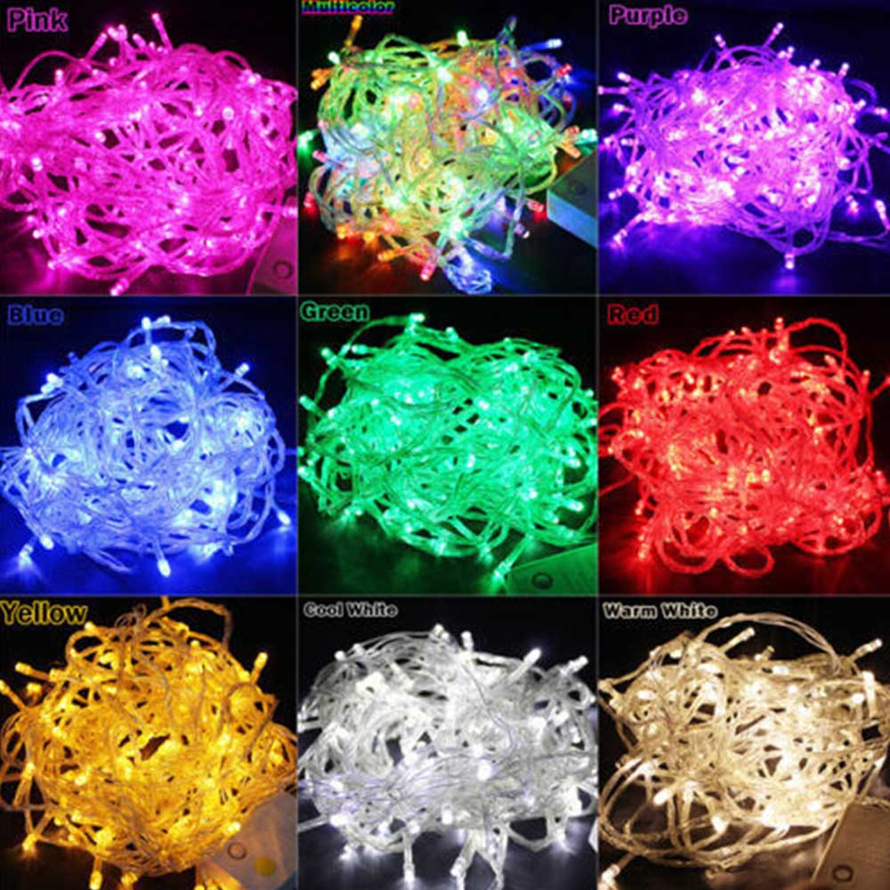 LED String Lights Holiday Valgustus 10M 100LEDs AC110V / 220V EU Xmas Pulmad Peoküünlad Jõulukaunistused Kerge Fairy Garland Lamps