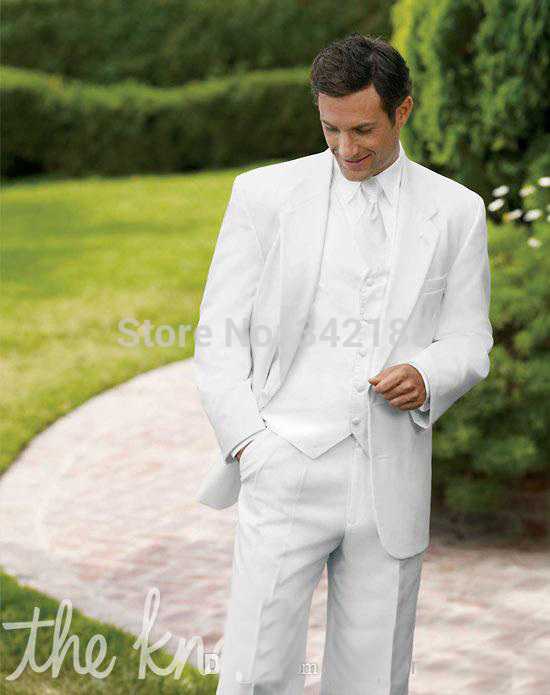 FREE EMS!New Style White Groom Tuxedos Groomsman Suit Wedding Mens Suits (Jacket+Pants+Vest+Tie)