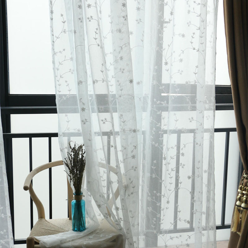 New White Embroidered Korean Edition Transparent Curtains For Living Dining Room BedroomChina