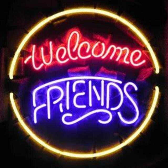 Custom Welcome Friends Open Glass Neon Light Sign Beer Bar