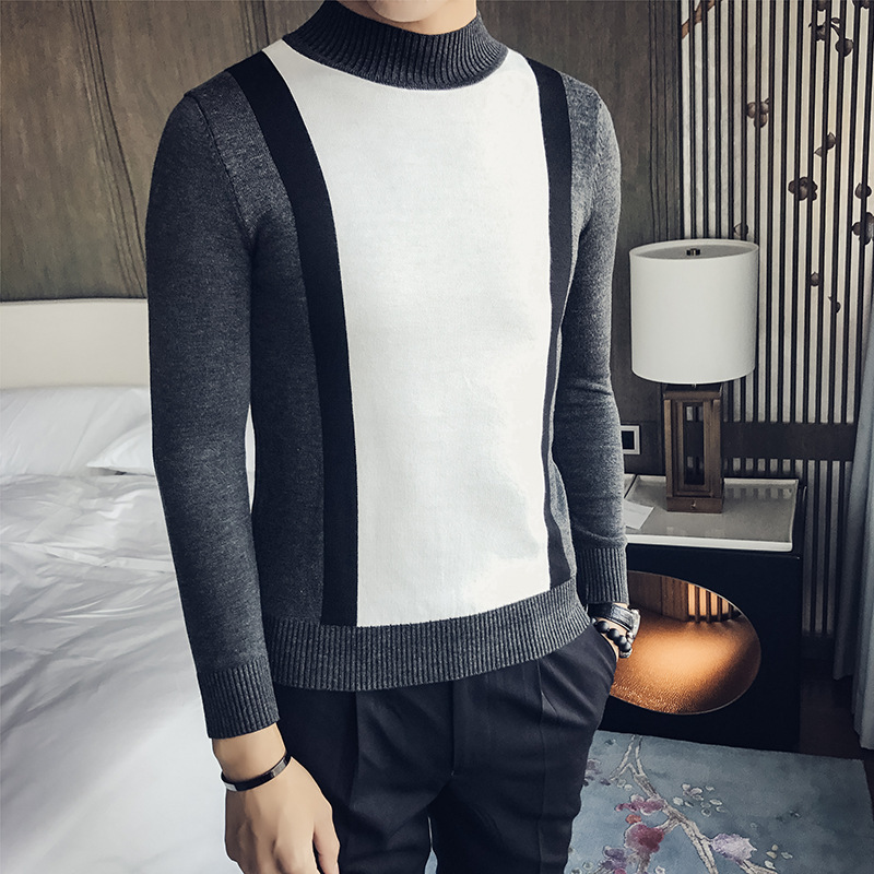 Men's Self-cultivation Sweater Personality Stitching Design Long Sleeve Knitted Sweater
