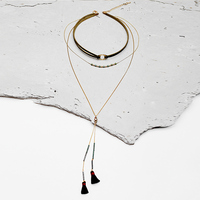 Retro Green Leather Choker Thread Tassel Pendant Necklace Vintage Gold Plated Long Chain Alloy Collar Necklace