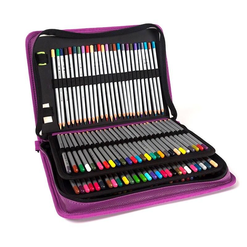 160 Buracos Pintura Esboço Lápis Caso 4 camadas de Alta Capacidade Multifuncional High-end PU elástico Pacote Escova Pena
