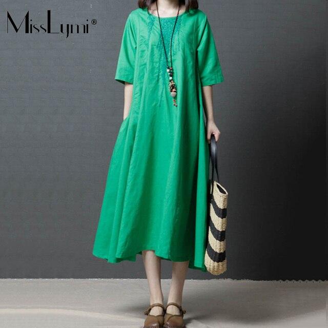 9726c4c8eaa9 MissLymi M-XXL Big Sizw Women Vintage Long Dress Green 2018 Summer Loose  Large Sizes O-neck Short Sleeve Cotton Linen Dress Bts