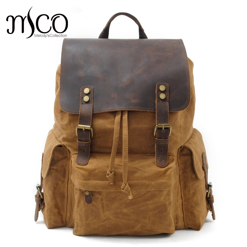 High Quality Waterproof Backpack Men Canvas Travel Shoulder Rucksack Vintage Large Capacity Youth Boy Laptop Backpack School Bag