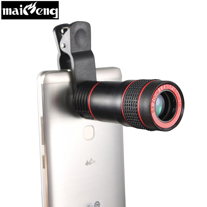 2018 Universal 8X Optical Zoom Telescope Phone Camera Lens Monocular Wide-angle for iPhone Huawei Xiaomi with smartphone holder