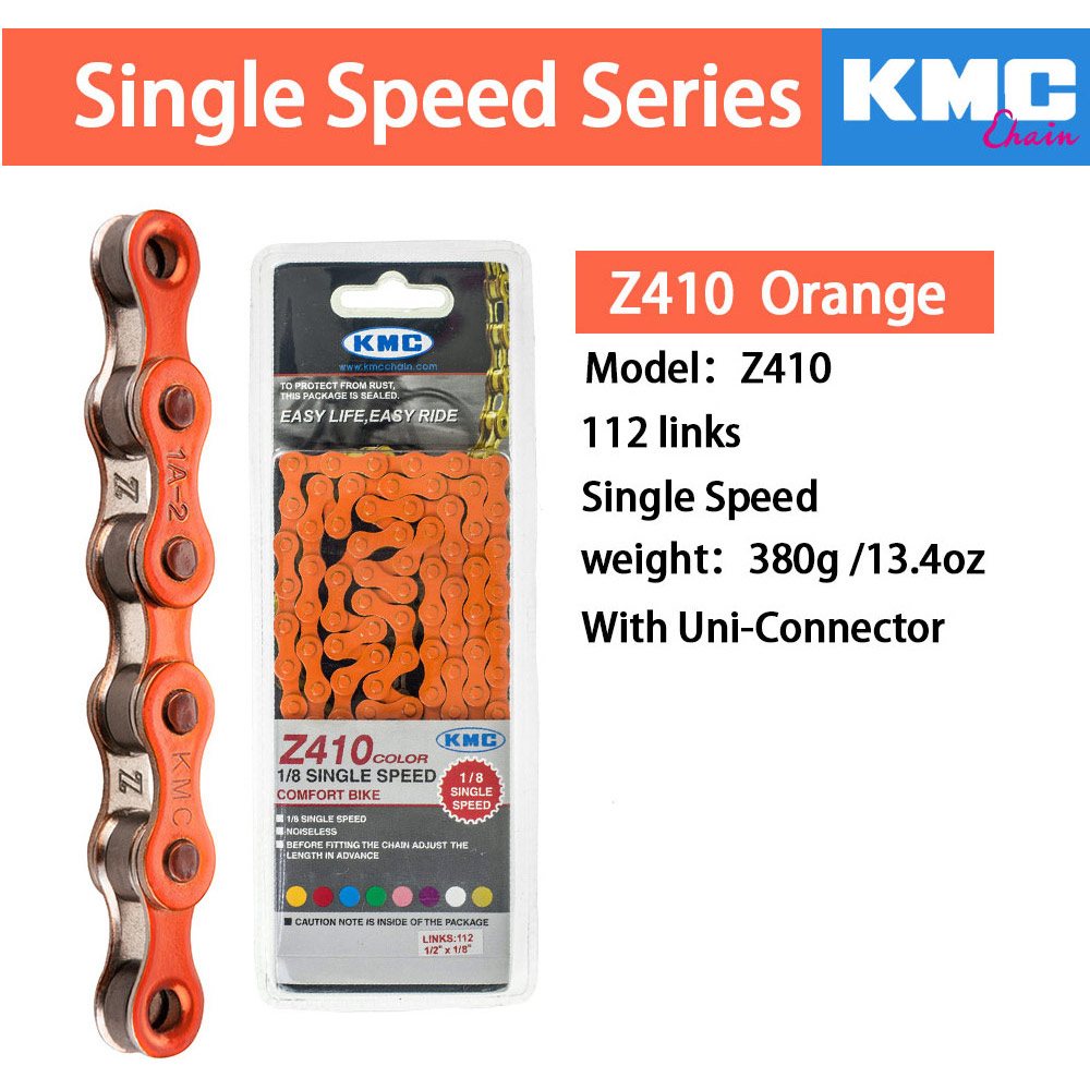 "KMC Z410 1//2/"" X 1//8/""---112L BMX-FIXED BIKE BICYCLE BLACK CHAIN"