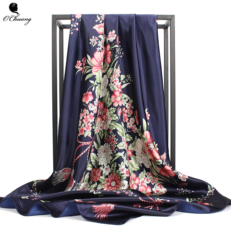 Silk Scarf Women Luxury Brand Fashion <font><b>Foulard</b></font> Satin Shawls Big Size <font><b>90</b></font>*90cm Square silk Hair / Head Scarves hijab Handkerchiefs image