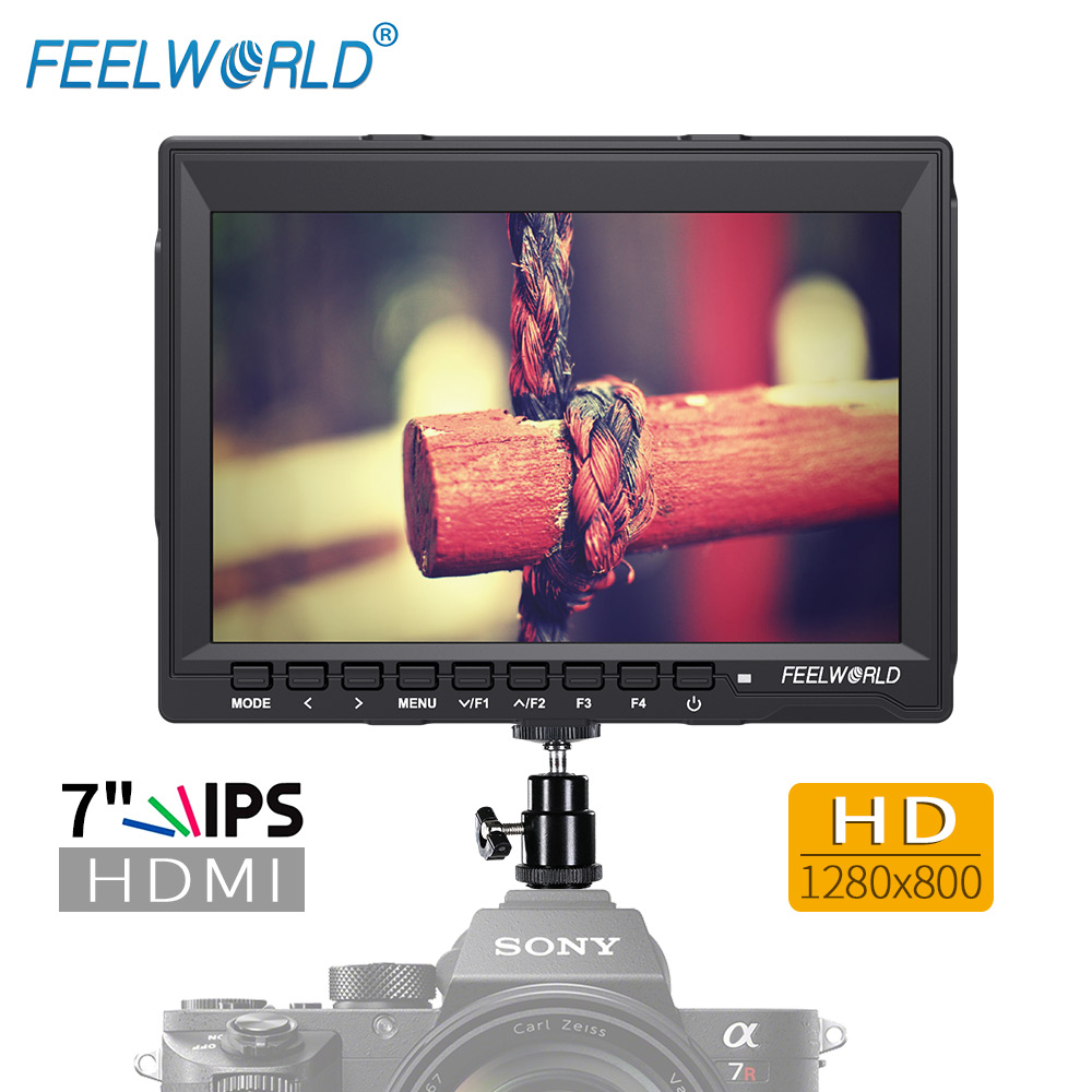 Feelworld FW759 7 Inch IPS 1280x800 HDMI Field Monitor with Peaking Focus 7 LCD Monitor for DSLR Camera Photo Studio f450 4 5 inch ips 1280x800 hd 4k field lcd camera monitor with hdmi input output uhd peaking focus and other monitor accessory