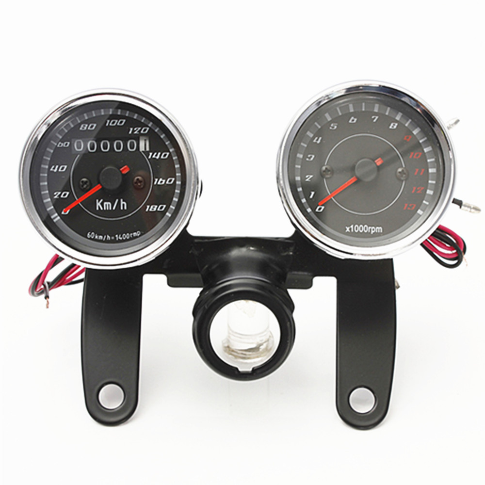 Fit for motorcycle Tachometer Odometer 2 in one Stainless steel motorbike meter
