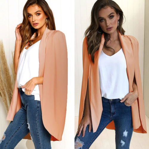 Retro Hot 2019 New Women Long Poncho Cape Coat Jacket Blazer Suit Shawl Plus Size Cloak Cardigan Outwear Women's Clothing