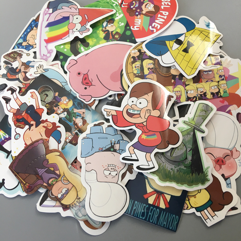 New 25Pcs/lot Funny Anime Gravity Falls Sticker For Car Laptop Luggage Skateboard Motorcycle Decal Kids Toy Sticker