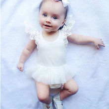 2016 New Hot Baby Girl Toddler Newborn Infant Cotton Rompers Tutu Lace Dress Clothes Outfits Free Shipping