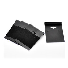 100Pcs Displays Card Ear Earring Stopper Plugs Hooks Holders Jewelry Cases Black Velvet Plastic 6.2x4.5cm