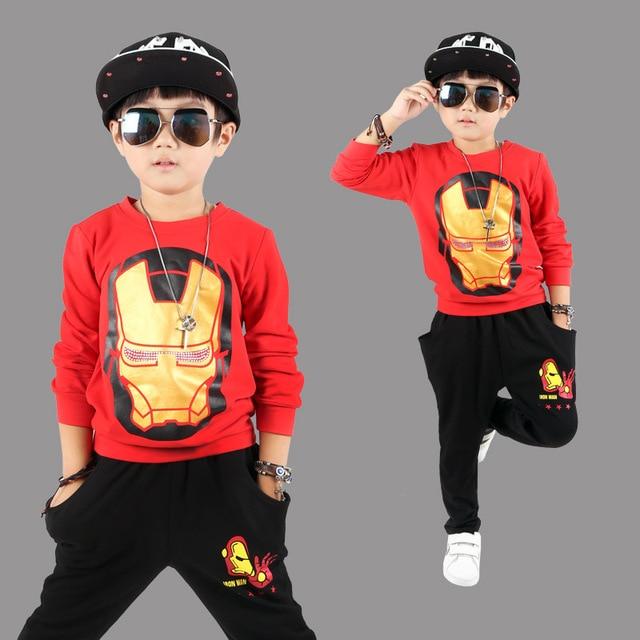 Дети хип-хоп одежды Iron Hero Одежда Устанавливает Новый Стиль прилив Хип-Хоп Костюмы детские Мальчики Харен Брюки Хлопок 2 шт. наряд
