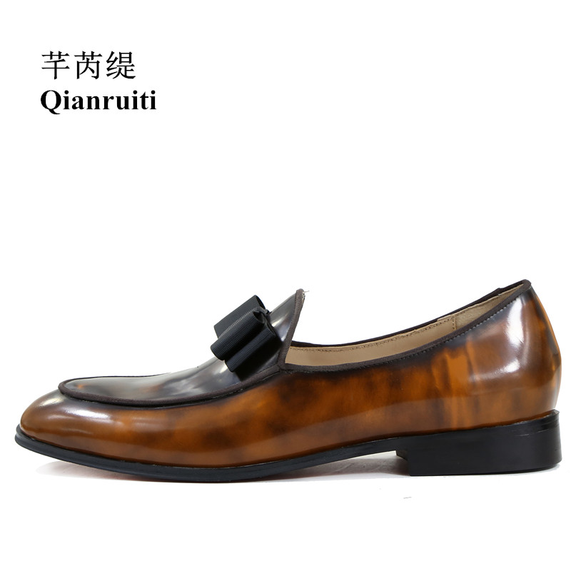 Qianruiti Vintage Basic Style Royal Brown Shoes Bowknot Slip-on Oxfords Men Patent Leather Formal Wedding Men Dress ShoesQianruiti Vintage Basic Style Royal Brown Shoes Bowknot Slip-on Oxfords Men Patent Leather Formal Wedding Men Dress Shoes