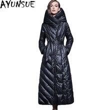 fb1b31efbe23 Europäischen Stil Schwarz Extra lange Ente Daunenmantel 2018 Frauen dicke  Jacke Mit Kapuze Warme Weibliche Parka