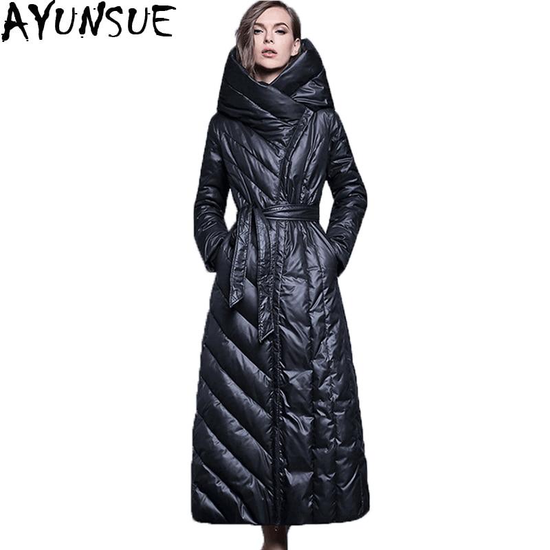 Veste Noir Black 2018 Capuchon St321 Extra Ceinture De Style Épaisse Qualité Parka Manteau Canard Haute Européen Duvet Long Avec Femmes Chaud Femelle À 5qwnxPB4