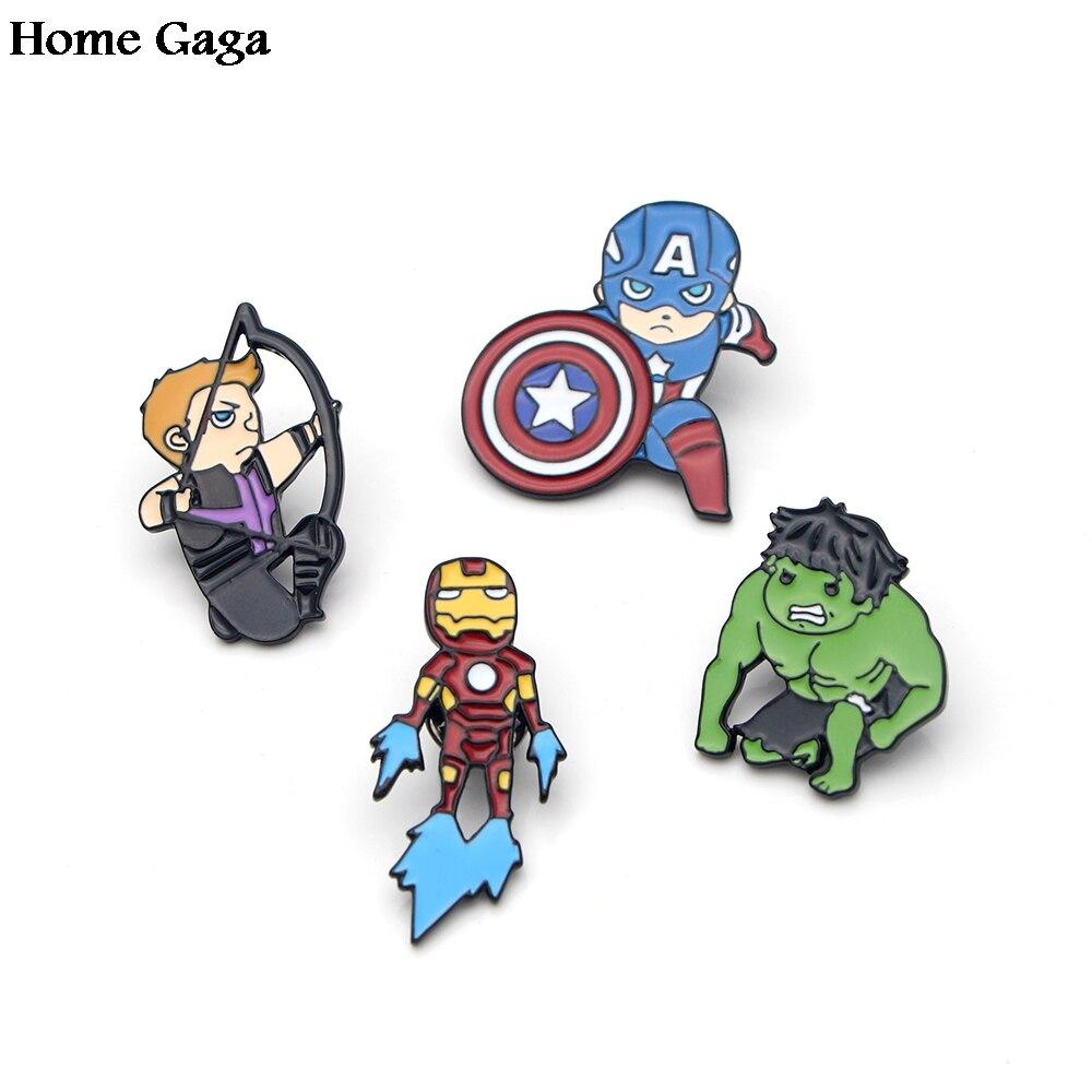20pcs lot Homegaga enamel brooch cute s The Hulk Captain America Iron Man Hawkeye Zinc pins