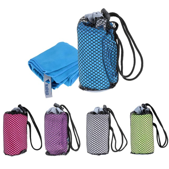 Bluefield Lembut untuk Kulit Cepat Kering Handuk Microfibre Handuk Penyerap Handuk Olahraga + Membawa Tas untuk Backpacking Berperahu Berkemah