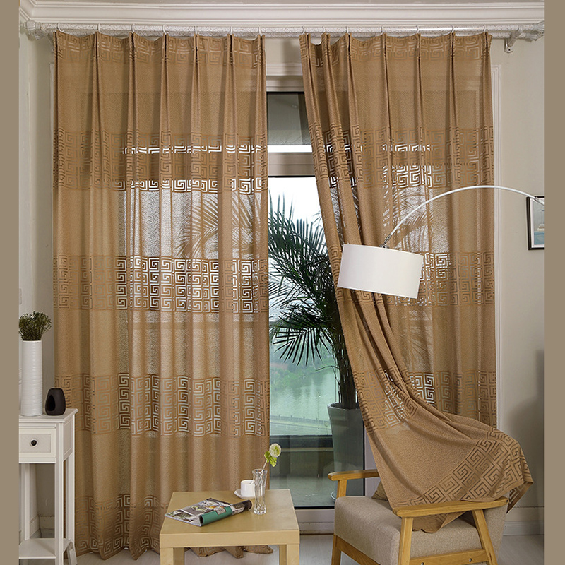 Classic Translucidus Curtains Warp Geometric Patterns Tulle Curtains  Bedroom Living Room Decoration Kitchen Curtains Brown(