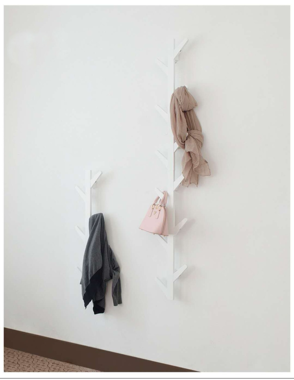 Ramas de árbol, perchas de pared, porche, decoración, Perchero de ropa, decoración de pared. C - 6