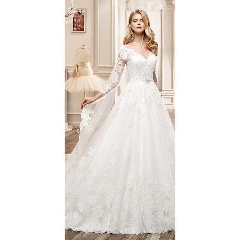 Long Sleeve Lace Wedding Dresses Ball Gown Backless: Elegant Lace Wedding Dresses With Long Sleeves Appliqued