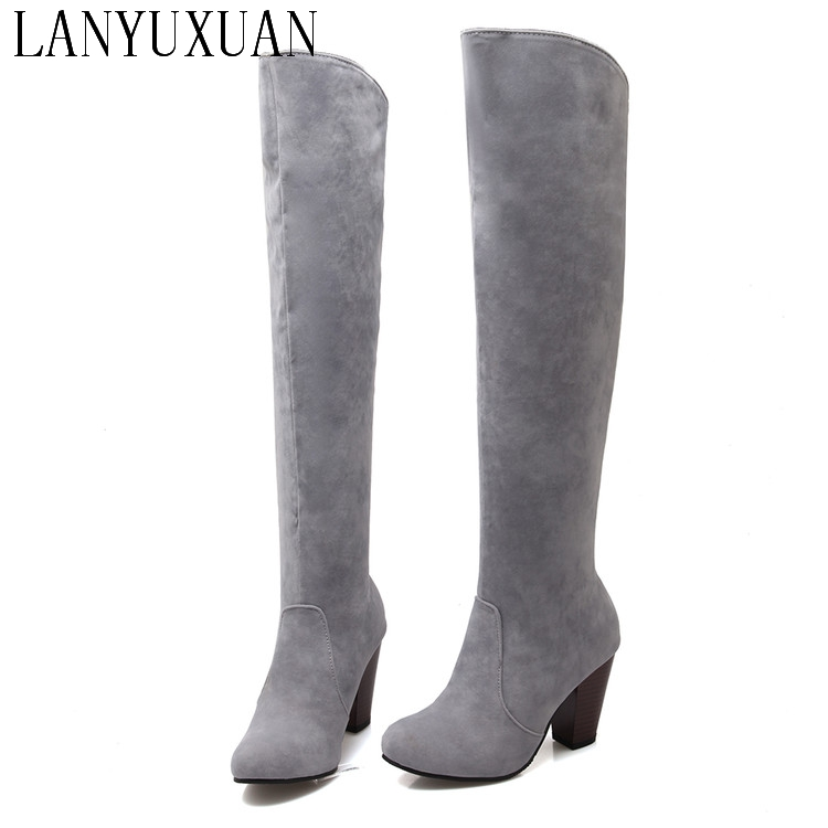 2017 Botas Mujer Big Size 34-43brand Design Patch Color Over The Knee Boots Thick Sole Platform Slim Long Winter Autumn 5049