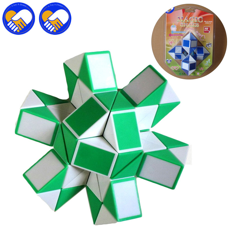 Stress Relief Toy Confident Color Random Newest 72 Blocks Magic Snake Ruler Cubes Spinner Puzzle Standard Version Children Education Game Toy