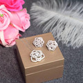 Designer Fashion 925 Sterling Silver Jewelry Platinum Plated 3A Cubic Zirconia Earring/Necklace Party Camellia Set