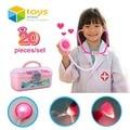 20 UNIDS De Plástico Caja de Herramientas de Simulación Médico Juego de Imaginación Juguetes Médico Médico Cosplay Set para Niños Kids con Luz y Sonido