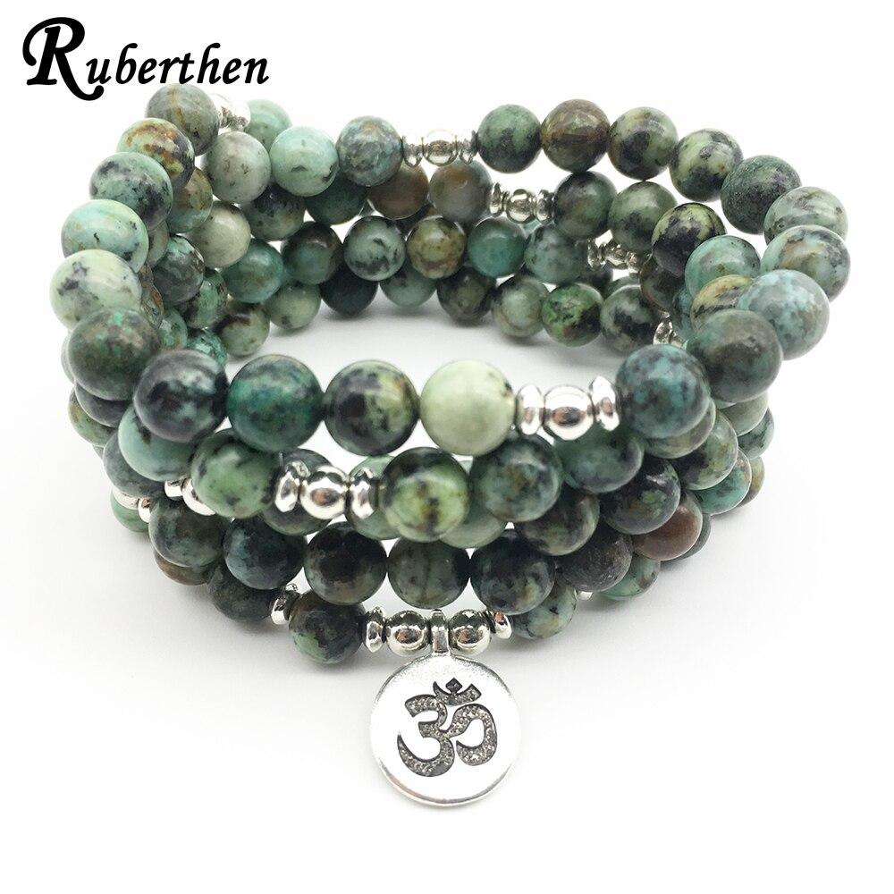 Ruberthen 2018 Ohm Yoga Charm Women Bracelets Vintage Design African Turquoises 108 Mala Bracelet Yogi Balance Bracelet