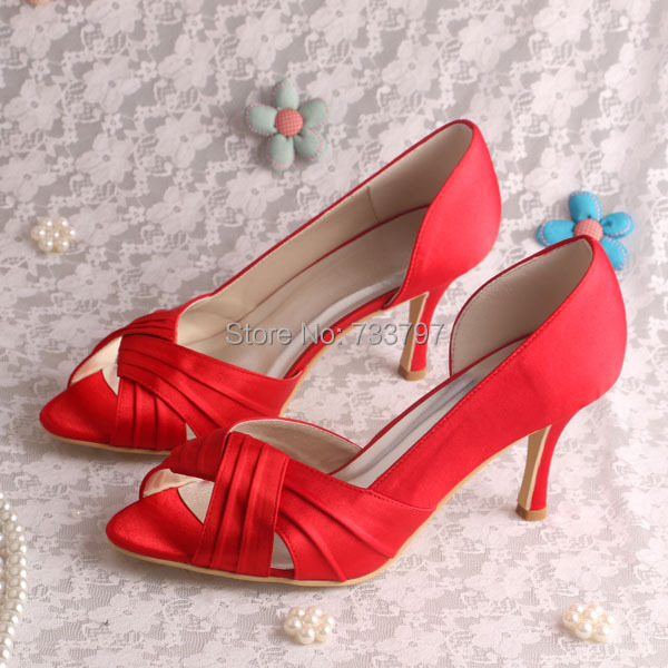 (20 Colors)Brand Name Shoes Wedding Thin Heel Red Satin for Womens Open Toe Dropshipping