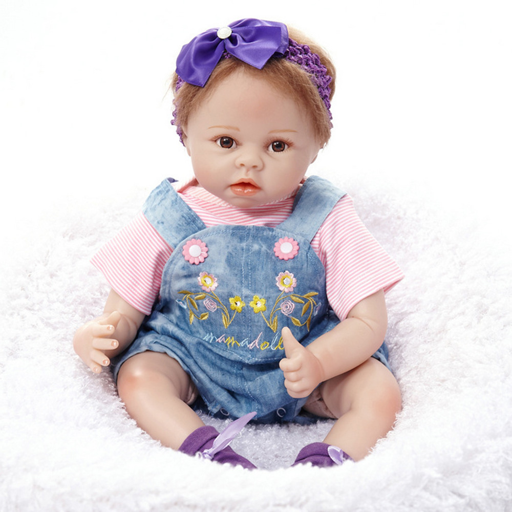22 inches Cute Reborn Girl Doll Soft Silicone Lovely Princess Newborn Baby with Cloth Body Toy for Kids Birthday Christmas Gift 22 inches realistic reborn girl doll soft silicone cute newborn baby with cloth body toy for kids birthday christmas gift