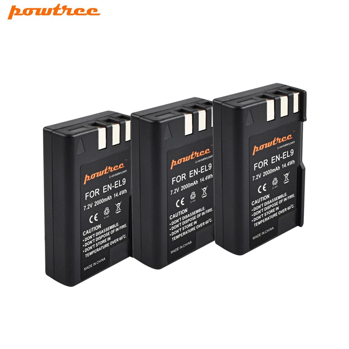 3 Pack 7.2 v 2000 mah EL 9a EL 9E EN-EL9 EN-EL9a EN-EL9E Battery Pack per Nikon D3000, d40, D40x, D5000, D60 Fotocamera REFLEX Digitale L20