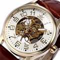 2017 top marca sewor esqueleto homens relógio transparente relógio masculino de couro preto relógios de pulso dos homens mecânicos relógios montre homme