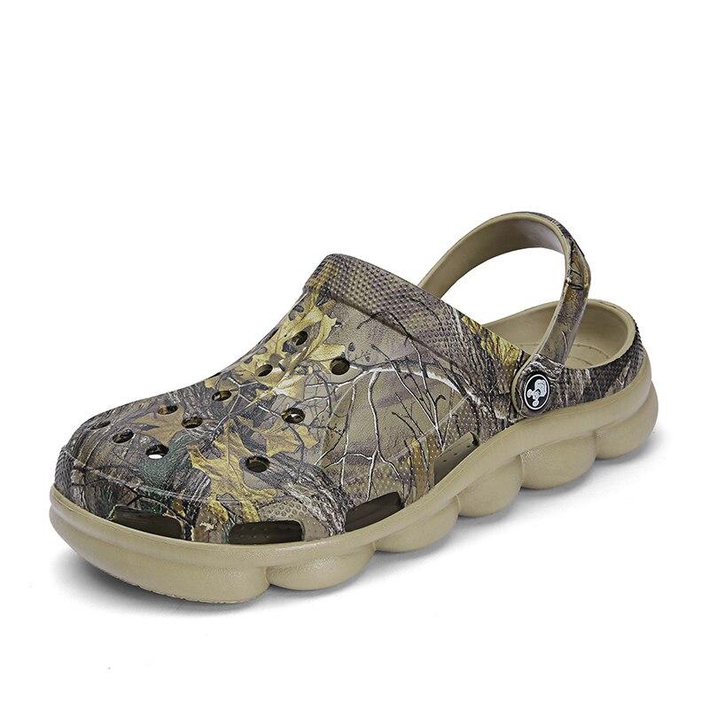Мужские пляжные сандалии карамельного цвета с перфорацией; Цвет Камуфляж; Зеленый; Тапочки с отверстиями для мужчин; Открытый спортивный светильник; Летняя водонепроницаемая обувь|Пляжные и уличные сандалии|   | АлиЭкспресс - Покупаем для дачи