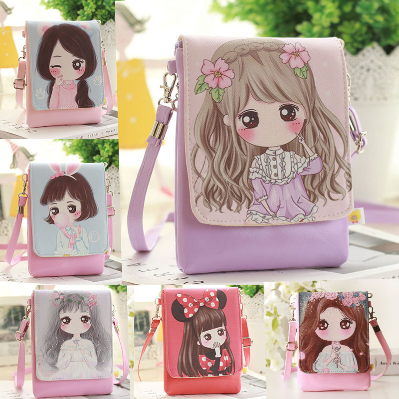 Fashion Girls Crossbody Bag Small Shoulder Bag Kids Messenger Bag Children Cartoon Printing Flap Bag Woman PU Leather Phone Bag