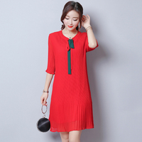 Autumn New Women Red Chiffon Dresses Pleated Mini Dress Feminino Apricot Vestidos de Festa Flare Sleeves Plus Size Robes 1E53A