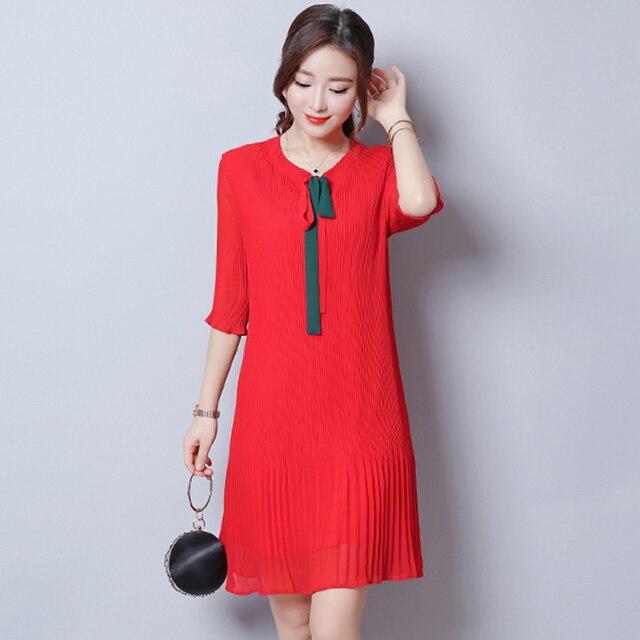 e778269c0c Autumn New Women Red Chiffon Dresses Pleated Mini Dress Feminino Apricot  Vestidos de Festa Flare Sleeves Plus Size Robes 1E53A