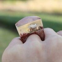 100% handgemachte Elegante Holz Harz Ring Schnee Lotus Blume Innen Ring Magische Fingerring Anillo Schmuck für Paar Geschenk
