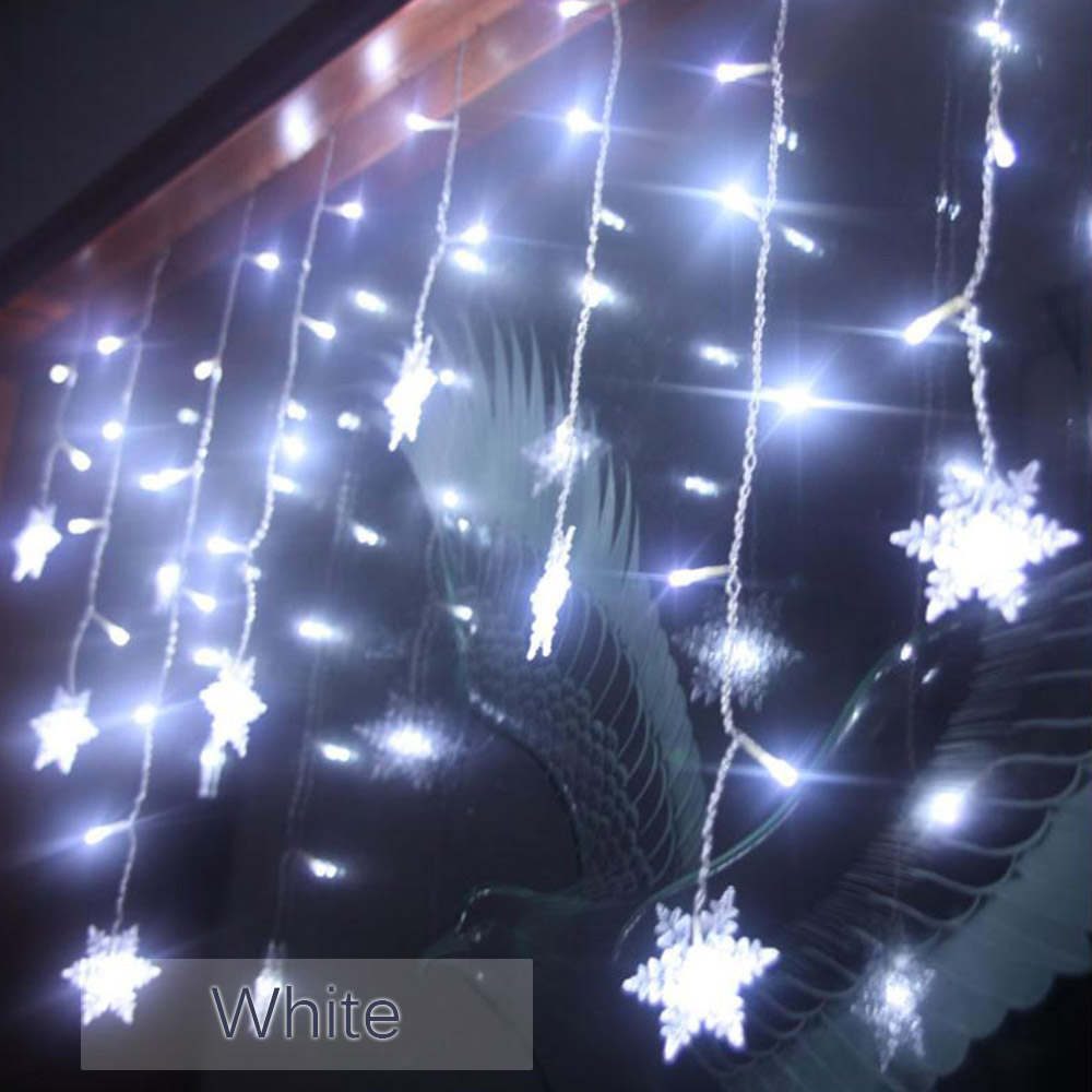 2 * 1M LED Gardin String Light Snowflake Fairy Lights För Julhelg - Festlig belysning - Foto 4