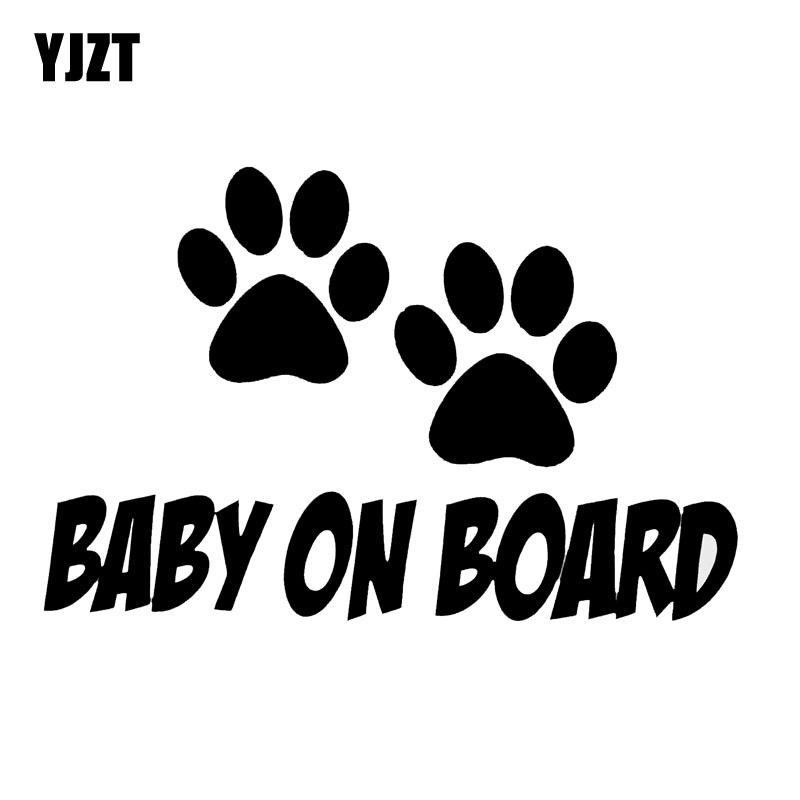 YJZT 14CM*9.3CM BABY ON BOARD Sweet Dog Footprints Vinyl Car Sticker Decals Black/Silver C10-00172