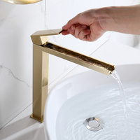 Kitchen faucet splash head extender Household Nordic gold basin faucet cold and hot hand wash basin all copper