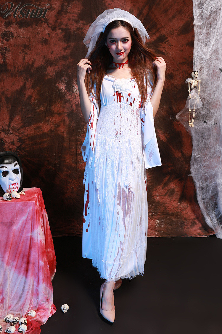 Women Wandering Soul in the Night Halloween Party Ghost Bride Fancy Dress White Bloodstain Vampire Zombies Cosplay Costume