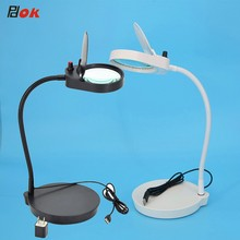 3X 10X Magnifier Table Top Desk LED Lamp 38 Reading Large Lens Magnifying Glass Desktop Loupe Repairing Tool